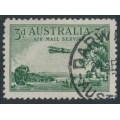 AUSTRALIA - 1929 3d green Airmail (horizontal mesh, booklet stamp), used – ACSC # 137