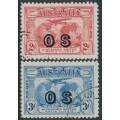 AUSTRALIA - 1931 2d red & 3d blue Kingsford Smith o/p OS, CTO – SG # O123-O124