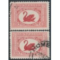 AUSTRALIA - 1929 1½d WA Centenary shades: carmine-red & claret, used – ACSC # 138A+138B