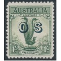 AUSTRALIA - 1932 1/- green Lyrebird overprinted OS, CTO – SG # O136