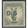 AUSTRALIA - 1932 1/- yellow-green Lyrebird overprinted OS, MH – SG # O136