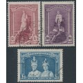 AUSTRALIA - 1948 5/- to £1 Robes set of 3 on thin paper, used – SG # 176a-178a