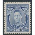 AUSTRALIA - 1937 3d blue KGVI definitive, die I (TA joined), perf. 13½:14, CTO – SG # 168