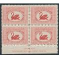 AUSTRALIA - 1929 1½d carmine-red Swan, imprint block of 4, MNH – SG # 116