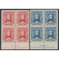 AUSTRALIA - 1930 1½d red & 3d blue Sturt, imprint blocks of 4, MH – SG # 117-118