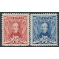 AUSTRALIA - 1930 1½d red & 3d blue Sturt set of 2, MNH – SG # 117-118
