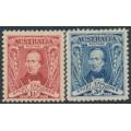 AUSTRALIA - 1930 1½d red & 3d blue Sturt set of 2, MH – SG # 117-118