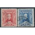AUSTRALIA - 1930 1½d red & 3d blue Sturt set of 2, used – SG # 117-118