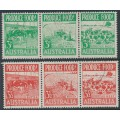 AUSTRALIA - 1953 3d green & 3½d red Produce Food strips, used – SG # 255a, 258a