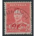 AUSTRALIA - 1938 2d scarlet King George VI, medallion flaw, used – SG # 184b