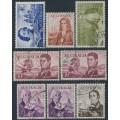 AUSTRALIA - 1963-65 4/- to £2 Navigators set of 8, used – SG # 355-360 + 358a + 359a
