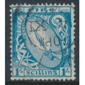 IRELAND - 1940 1/- light blue Sword of Light with 'e' watermark, used – SG # 122
