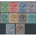 IRELAND - 1922 ½d to 10d KGV issues of GB, o/p Irish Provisional Government, MH – SG # 1-2 + 4-9 + 4b + 8b