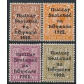 IRELAND - 1922 ½d to 1/- KGV issues of GB, o/p Irish Provisional Government, MH – SG # 10 + 13-15