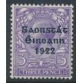 IRELAND - 1923 3d bluish violet KGV issue of GB, o/p Irish Free State in black, MH – SG # 57