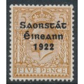 IRELAND - 1923 5d yellow-brown KGV issue of GB, o/p Irish Free State in black, MH – SG # 59