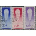 RUSSIA / USSR - 1933 Stratospheric Balloon set of 3, used – Michel # 453-455