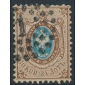RUSSIA - 1858 10Kop brown/blue Coat of Arms, perf. 12¼:12½, no watermark, used – Michel # 5