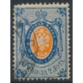 RUSSIA - 1868 20Kop blue/orange Arms, perf. 14½:15, vertically ribbed paper, used – Michel # 22y