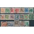RUSSIA - 1913 Romanov Dynasty set of 17 plus overprinted values, used – Michel # 82-98+113-114