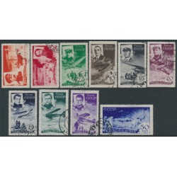 RUSSIA / USSR - 1935 Rescue of the Ice Breaker Chelyuskin set of 10, used – Michel # 499-508