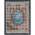 RUSSIA - 1858 10Kop brown/blue Arms, perf. 14½:15, '1' watermark, '482' numeral cancel – Michel # 2x