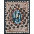RUSSIA - 1858 10Kop brown/blue Arms, perf. 14½:15, '1' watermark, '447' numeral cancel – Michel # 2x