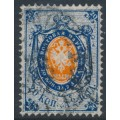 RUSSIA - 1865 20K blue/orange Coat of Arms, perf. 14½:15, thick paper, used – Michel # 16z