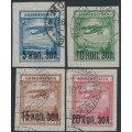 RUSSIA / USSR - 1924 Airmail overprints set of 4, used – Michel # 267-270