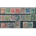 RUSSIA - 1913-1916 1K to 5R Romanov Dynasty set of 19, used – Michel # 82-98 + 113-114