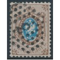 RUSSIA - 1858 10Kop brown/blue Coat of Arms, perf. 12¼:12½, '3' railway cancel – Michel # 5