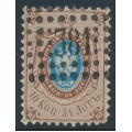 RUSSIA - 1858 10Kop brown/blue Coat of Arms, perf. 12¼:12½, '381' numeral cancel – Michel # 5