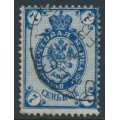 RUSSIA - 1889 7Kop blue Coat of Arms, with misplaced background, used – Michel # 49x
