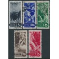 RUSSIA / USSR - 1935 Anniversary of WWI set of 5, horizontal watermark, used – Michel # 494Y-498Y