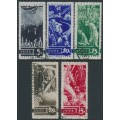 RUSSIA / USSR - 1935 Anniversary of WWI set of 5, vertical watermark, used – Michel # 494X-498X