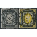 RUSSIA - 1902 3.50R & 7R Coat of Arms, vertically laid paper, used – Michel # 55y + 56y