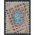 RUSSIA - 1858 10Kop brown/blue Coat of Arms, perf. 12¼:12½, '418' numeral cancel – Michel # 5