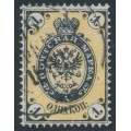 RUSSIA - 1865 1Kop black/yellow Coat of Arms, perf. 14½:15, thick paper, used – Michel # 12z
