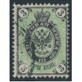 RUSSIA - 1868 3Kop black/green Arms, perf. 14½:15, vertically ribbed paper, used – Michel # 19y