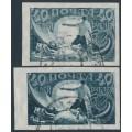 RUSSIA - 1921 40R grey-blue imperf., vertical & horizontal watermarks, used – Michel # 155X+155Y