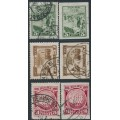 RUSSIA / USSR - 1925 Decembrist Uprising sets of 3, perf. & imperf., used – Michel # 305-307