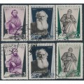 RUSSIA / USSR - 1935 Tolstoy sets of 3, perf. 14:14 & 11:11, used – Michel # 536-538
