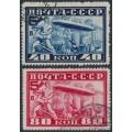 RUSSIA / USSR - 1930 40K blue & 80K red Zeppelins set of 2, perf. 10½, used – Michel # 390B-391B