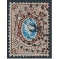 RUSSIA - 1858 10Kop brown/blue Coat of Arms, '1' watermark, perf. 14½:15, used – Michel # 2x