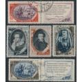 RUSSIA / USSR - 1949 Alexander Pushkin Anniversary set of 5, used – Michel # 1348-1352