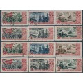 RUSSIA / USSR - 1947 October Revolution sets of 6, perf. & imperf., used – Michel # 1162-1167