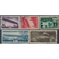RUSSIA / USSR - 1931 10K to 1R Zeppelins set of 5, imperforate, used – Michel # 397CX-401CY