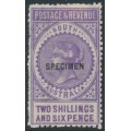 AUSTRALIA / SA - 1892 2/6 violet Long Tom overprinted SPECIMEN, MH – SG # 195as
