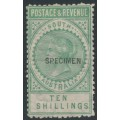 AUSTRALIA / SA - 1892 10/- bluish green Long Tom overprinted SPECIMEN, MH – SG # 197as