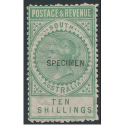 AUSTRALIA / SA - 1892 10/- bluish green Long Tom overprinted SPECIMEN, MH – SG # 197as